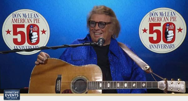 """DON McLEAN PERFORMS SOLD OUT VIRTUAL EVENT FOR UNITED CARD EVENTS FROM CHASE TO CELEBRATE 50TH ANNIVERSARY OF """"AMERICAN PIE"""""""